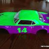 "This is a BRIGHT 68 Camaro body done in Faskolor Neon Green and Purple.  Dubbed ""The Grape Ape"" it will be easy to see this VTA body on the track!"
