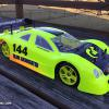 This is a Mercedes CLK racing body given to me by a friend.  I airbrushed it with Faskolor neon yellow and a little orange along with faux carbon fiber and a few details.  It is mouned on an Associated TC6 for USGT racing!
