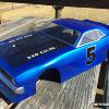 McAllister's new CUDA body for Vintage Trans Am racing!  Nice.  Airbrushed with Faskolor Pearl Blue.  Numbers were done by hand with liquid mask.