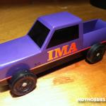 This is a truck/car built for the Brownsburg Motorsports Celebration Pinewood Derby.  IMA is the Indiana Motorsports Association.