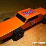 """The General Lee"" was inspired by the Dukes of Hazzard TV show of course.  Something tells me there have been MANY General Lee Pinewood Derby cars!"