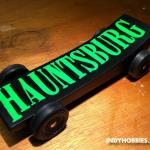 The Hauntsburg Haunted House was happening in our hometown when this car was inspired.  www.HAUNTSBURG.com.  This was created for the Brownsburg Motorsports Celebration Pinewood Derby.  You can find more information on this great event at www.BrownsburgRacing.com.
