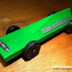 "Team Associated is a radio control car manufacturer.  But I liked the decals so I used them.  This is called the ""Five Cut Car"" because all it takes is five cuts on a table saw or similar to create it!"